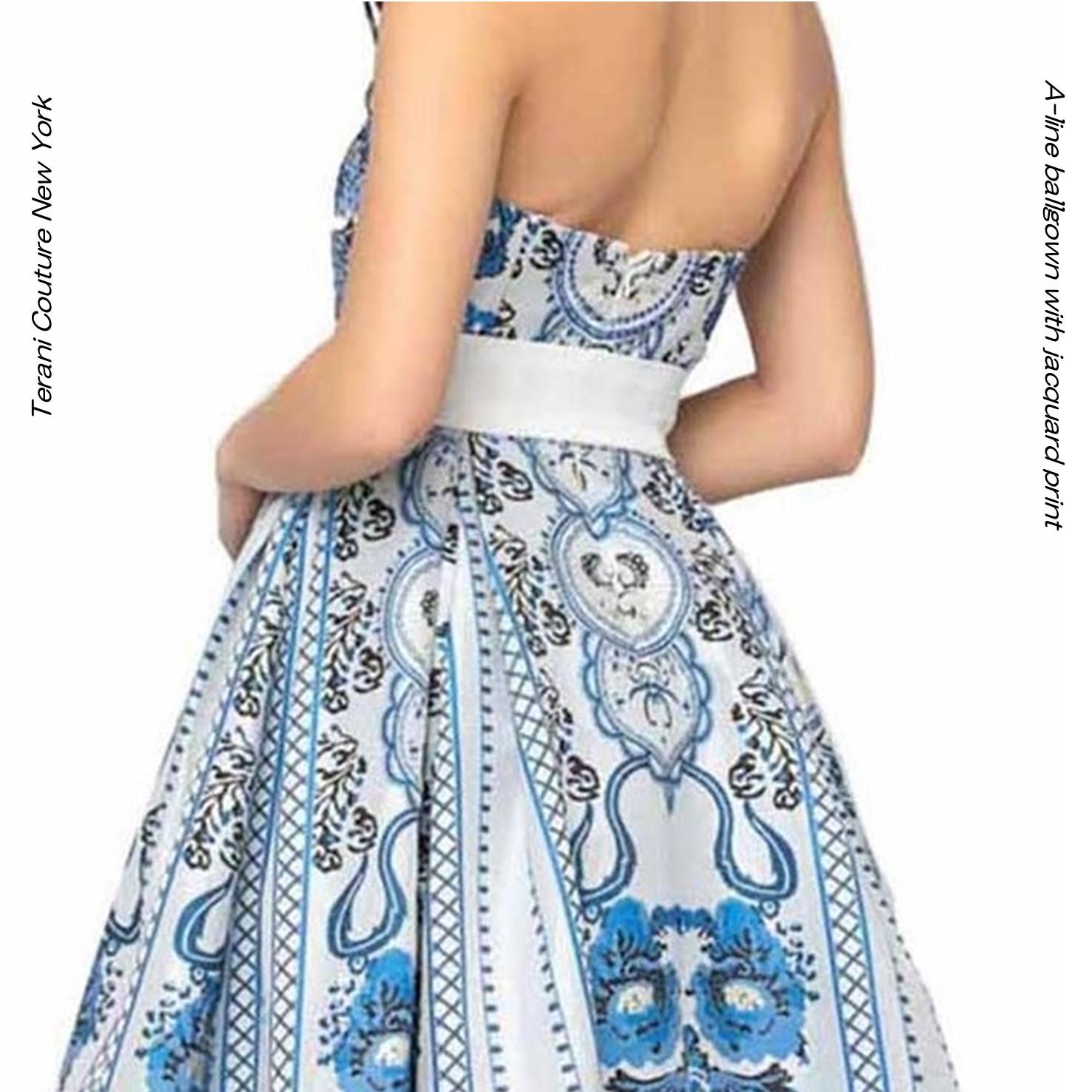 インポートドレス ドレス アラベスク模様 ジャガード ホワイト シルバー マルチカラー ベアトップ Aライン  ニューヨーク  TERANI TERANICOUTURE  ラグジュアリードレス 演奏会ドレス ピアノ演奏 ステージドレス 発表会ドレス