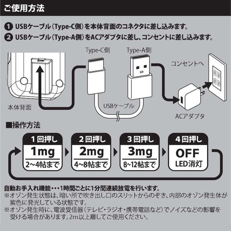 快適マイエアー OZ-3 オゾン除菌脱臭器 空気清浄機 ウィルス除去