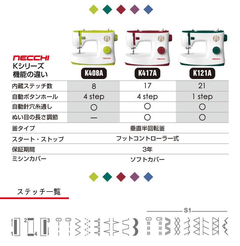 【2019年発売!】NECCHI(ネッキ) フットコントローラー付 電動ミシン K417A K-417A ミシン 本体 おしゃれ かわいい イタリア ネッチ