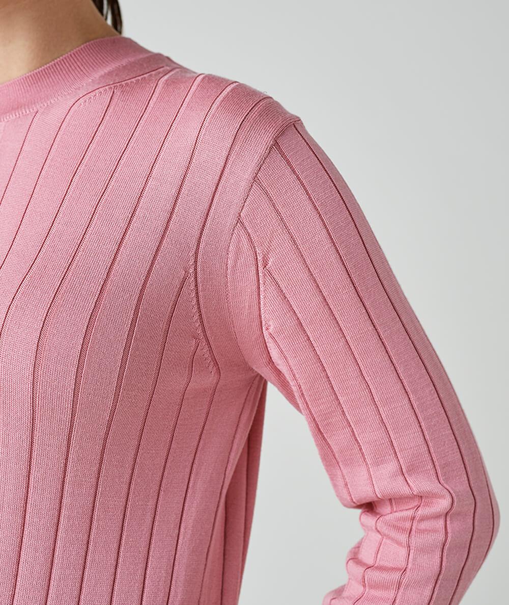 Wide Rib Silk Pullover