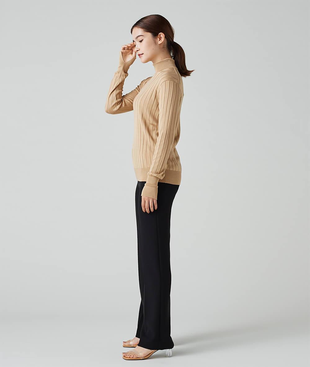Wide Rib Silk High Neck Knit