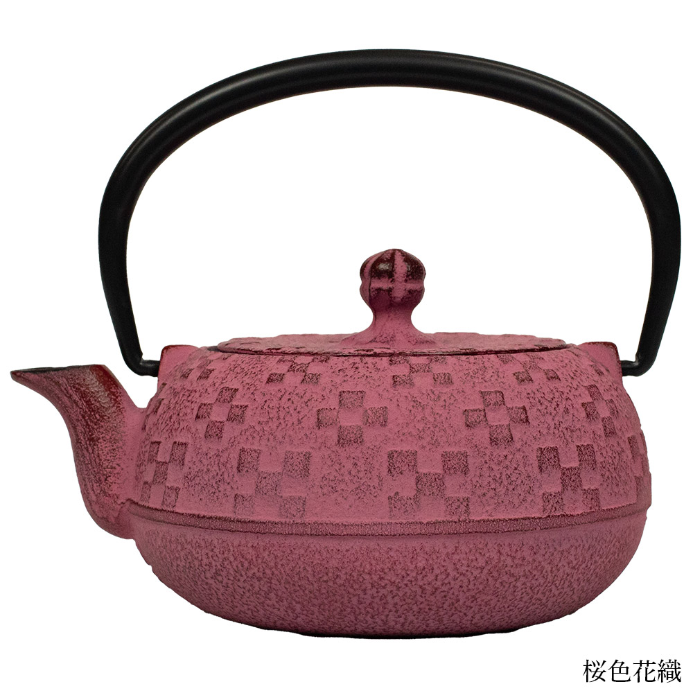 鉄瓶急須0.3リットル 藍色花織り/桜色花織り