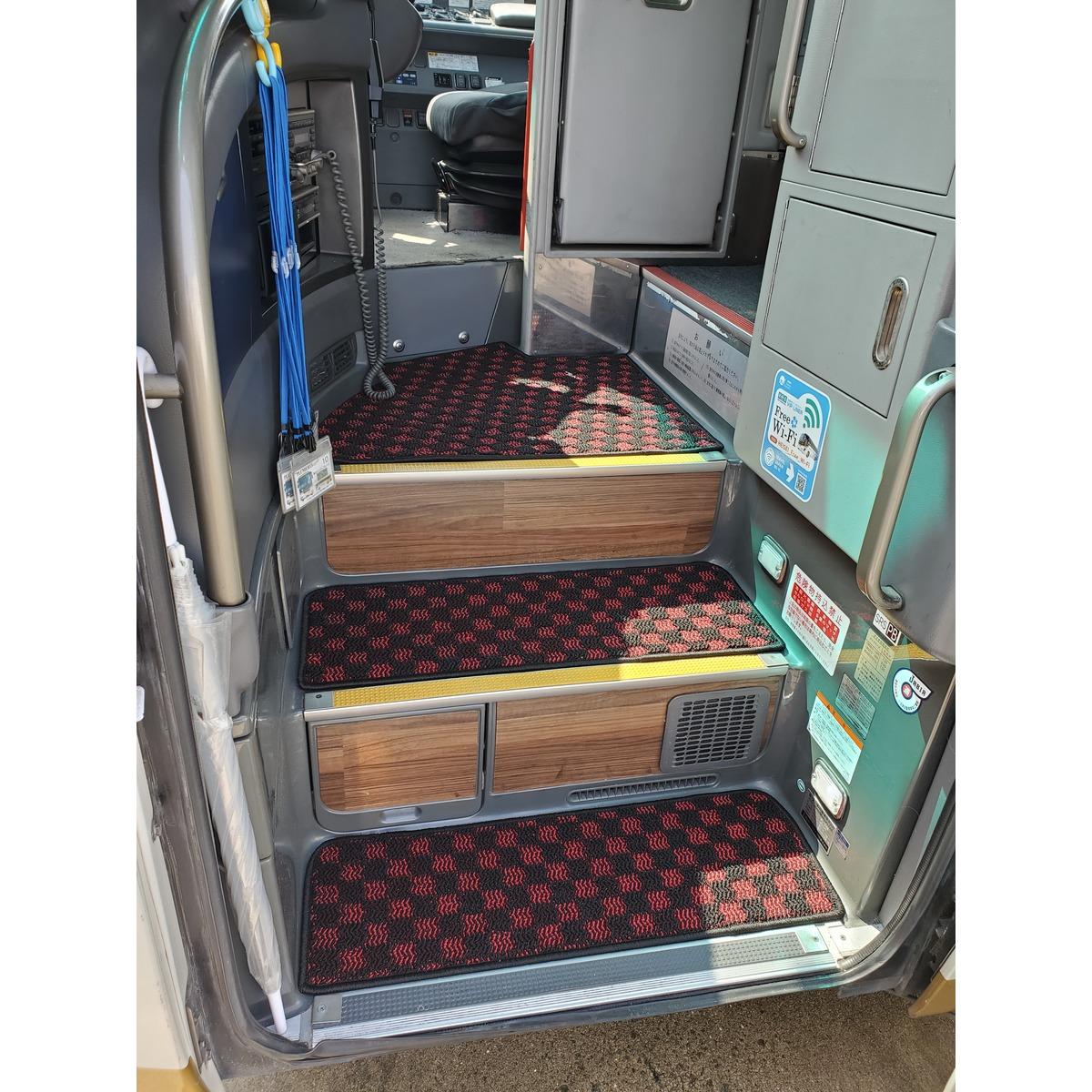 階段用マット 3点セット 大型バス用 赤・黒