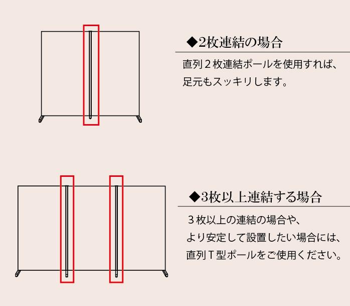 自立式:デザインパーティション 直列2枚連結ポール