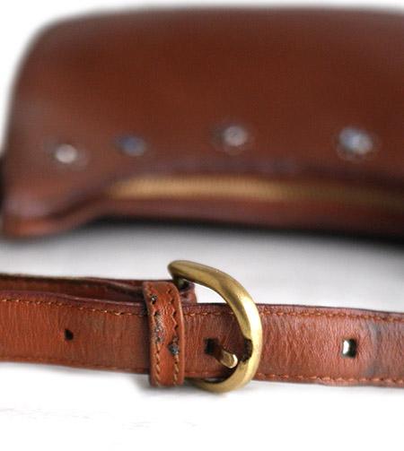 """PANTY Original Design """"OLD COACH"""" Vintage Remake Studs Leather Shoulder Bag / No.24"""