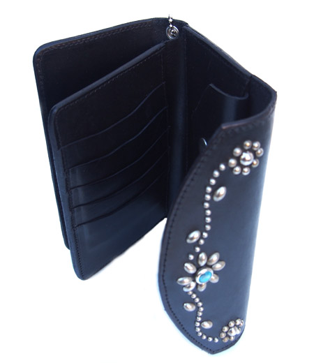 HTC Long Wallet Flower & Umbrella Suede mix #6 TQS N / Black