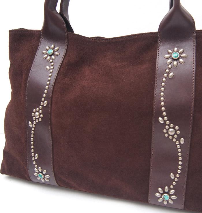 HTC SUNSET Tote Bag Flower Suede #2 TQS N / Brown