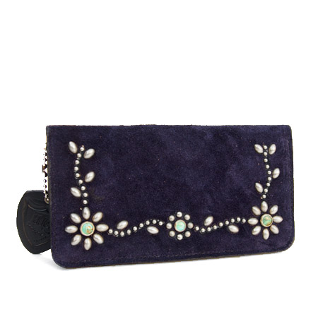 HTC Long Wallet Flower Suede #5 TQS N / Navy