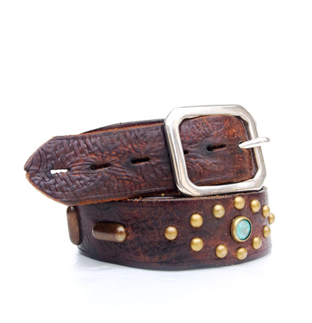 HTC 〔エイチティーシー〕 ベルト Vintage Remake Leather Studs Belt / Brown�