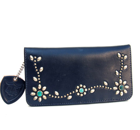 HTC Long Wallet Flower Leather #4 TQS N / Navy