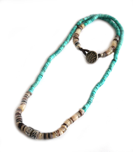 CHAFF DESIGN〔チャフ・デザイン〕Turquoise Shell On Silver Ring Necklace