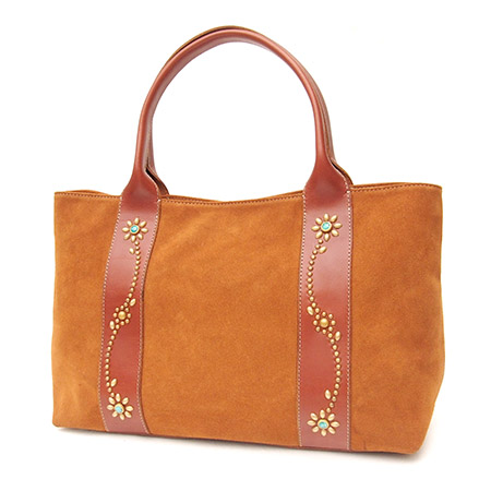HTC SUNSET Tote Bag Flower Suede #2 TQS N / Camel