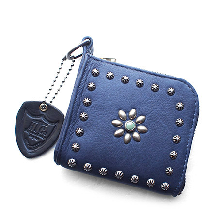 HTC L-zip Wallet Flower Lamb Leather #1 TQS N / Navy