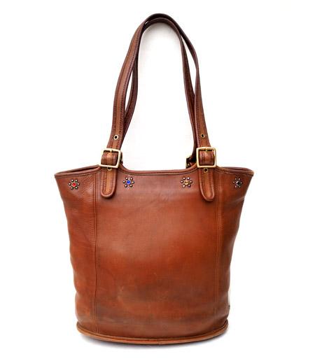 """PANTY Original Design """"OLD COACH"""" Vintage Remake Studs Leather Tote Bag / No.17"""