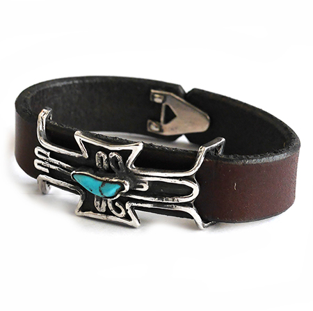 CHAFF DESIGN〔チャフ・デザイン〕Leather Silver On Turquoise Bracelet
