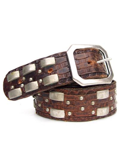 HTC 〔エイチティーシー〕 ベルト Vintage Remake Leather Studs Belt / Dark Brown �