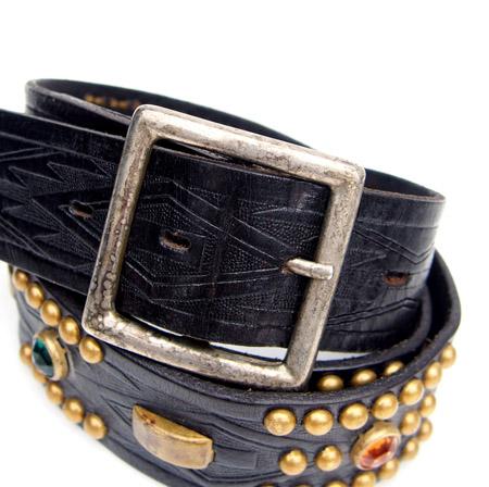 HTC 〔エイチティーシー〕 ベルト Vintage Remake Leather Studs Belt / Black�