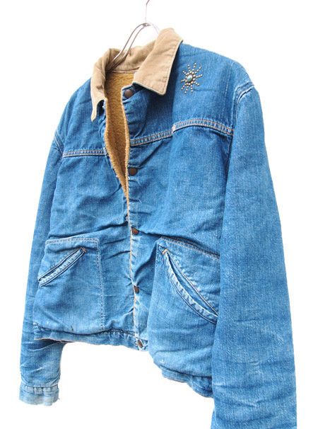 """1970s Vintage """"Wrangler"""" Remake Turquoise Studs Denim Ranch Jacket"""