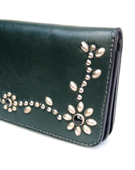 HTC Long Wallet Flower Leather #4 BLACK N / D Green