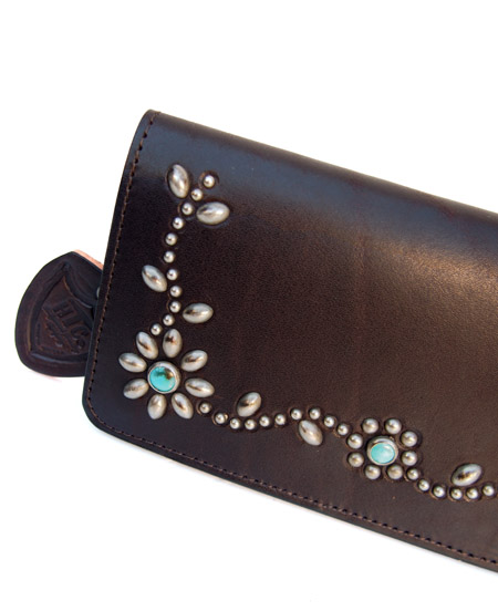 HTC Long Wallet Flower Leather #4 TQS N / D Brown