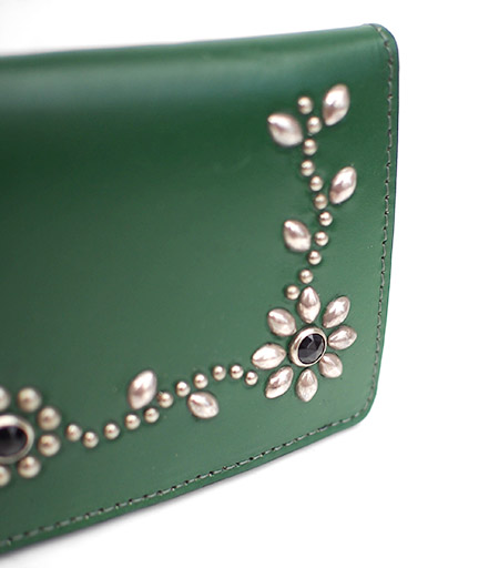 HTC Long Wallet Flower Leather #4 BLACK N / Green