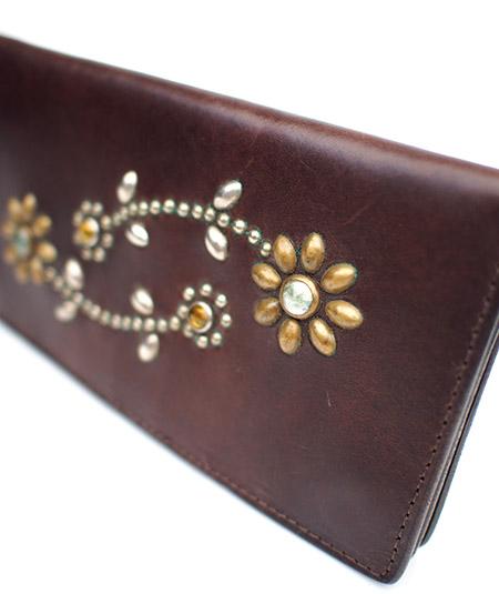 HTC Long Wallet Flower #5 GLASS MIX / Brown