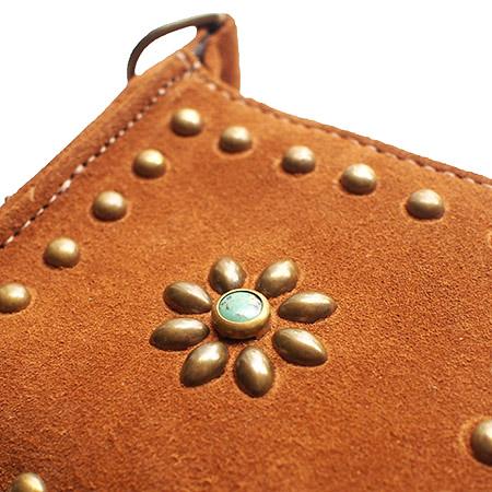 HTC L-zip Wallet Flower&Round Suede #2 TQS B / Camel
