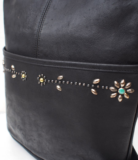 "PANTY Original Design ""OLD COACH"" Vintage Remake Studs Leather Shoulder Bag / No.5"