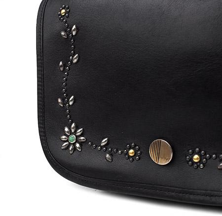 """PANTY Original Design """"OLD COACH"""" Vintage Remake Studs Leather Shoulder Bag / No.7"""