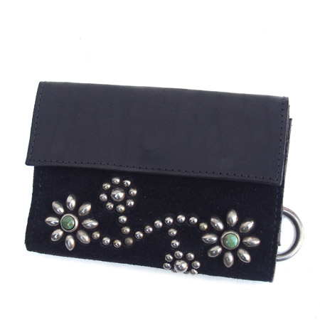 HTC Short Wallet Flower Suede Mix TQS N / Black