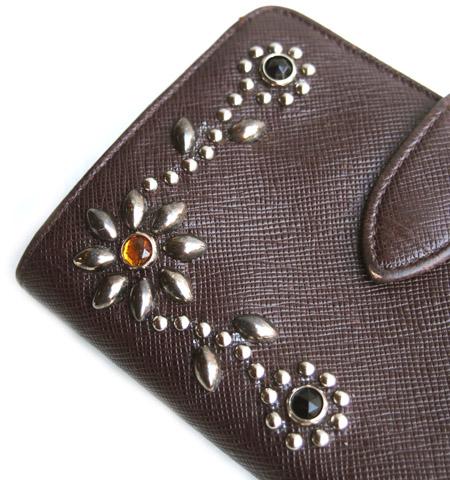 """PANTY Original Design """"OLD COACH"""" Vintage Remake Studs Leather Wallet /�"""