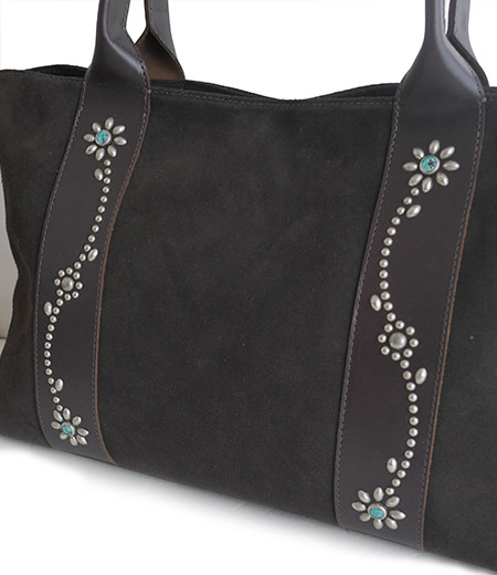 HTC SUNSET Tote Bag Flower Suede #2 TQS N / D Brown