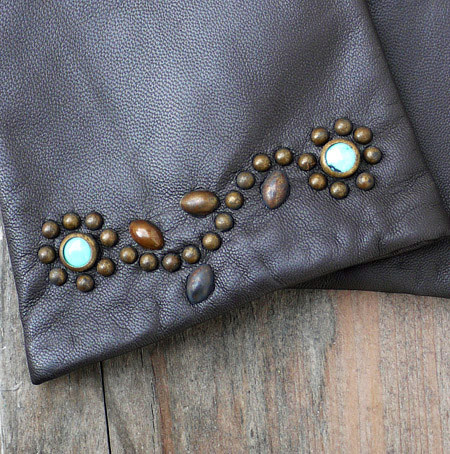 HTC 〔エイチティーシー〕 グローブ Flower Studs Brown Leather Glove/Turquoise Stone