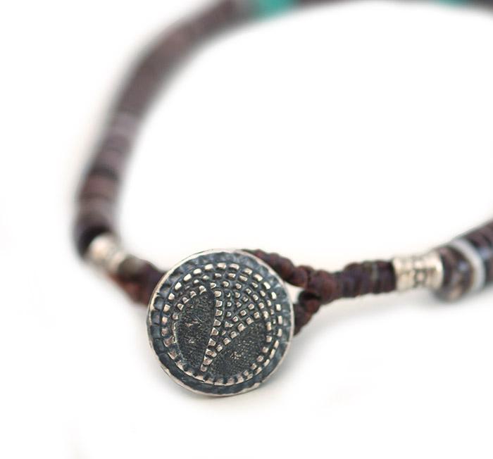 CHAFF DESIGN〔チャフ・デザイン〕Brown Shell 3Turquoise Bracelet