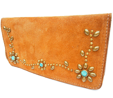 HTC Long Wallet Flower Suede #5 TQS B / Camel