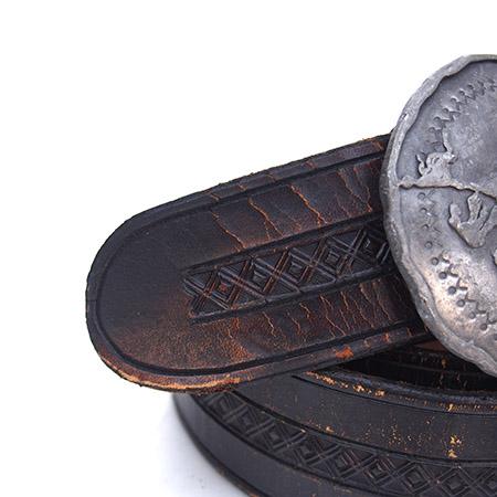 1970s Vintage Nickel Round Buckle Leather Belt