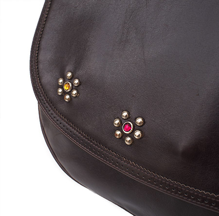 """PANTY Original Design """"Salvatore Ferragamo"""" Vintage Remake Studs Leather Shoulder Bag"""
