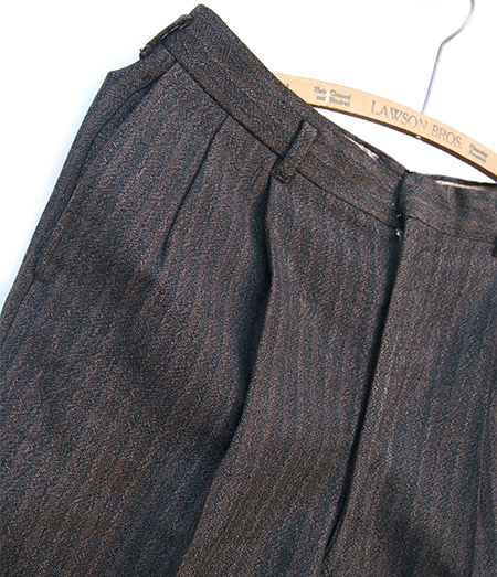 PANTY Original Vintage Remake Tapered Slacks / Brown Stripe