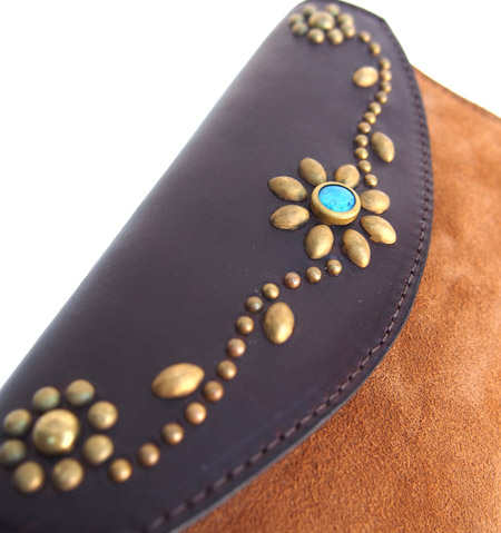 HTC Long Wallet Flower & Umbrella Suede mix #6 TQS B / Camel