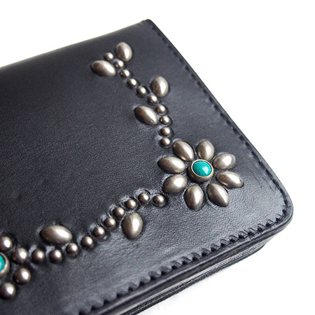 HTC SUNSET Long Wallet Flower Leather # 4 TQS N /  Black