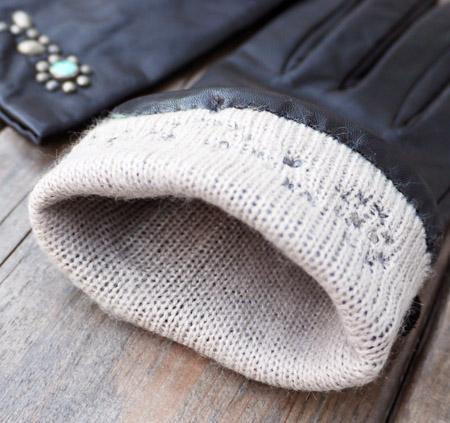 HTC 〔エイチティーシー〕 グローブ lower Studs Black Leather Glove � / Turquoise Stone