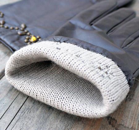 HTC 〔エイチティーシー〕 グローブ Flower Studs Brown Leather Glove / Black × Yellow Stone