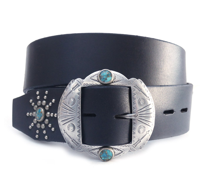 HTC Belt  End Only Fire Nickel Buckle Turquoise #3 TQS N / Black