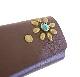 HTC SUNSET Key Case Flower Leather #1 TQS B / Brown