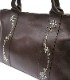 HTC SUNSET Tote Bag Flower Leather #1 TQS N / D Brown