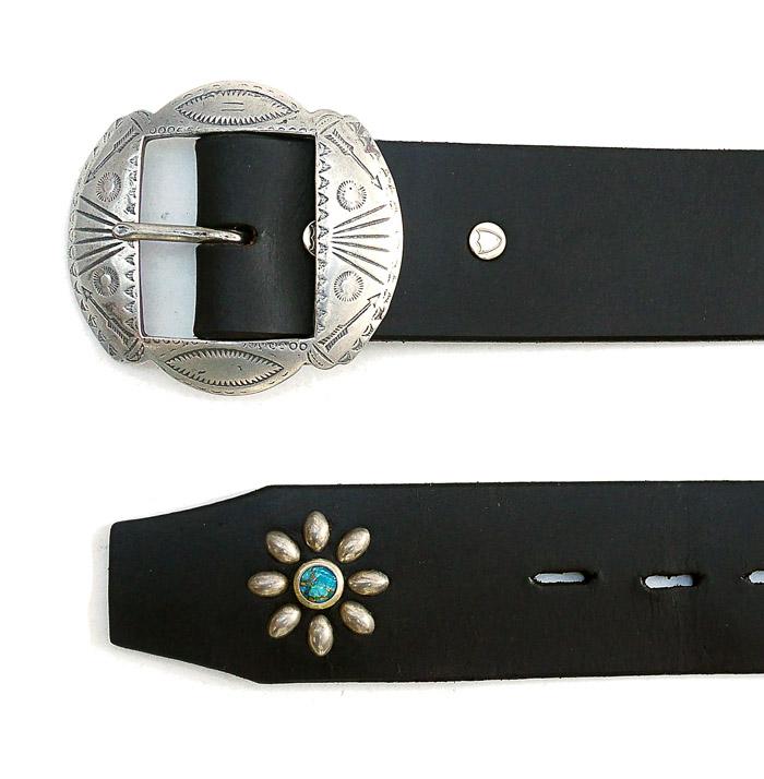 HTC Belt  End Only Flower Nickel Buckle #4 TQS N / Black