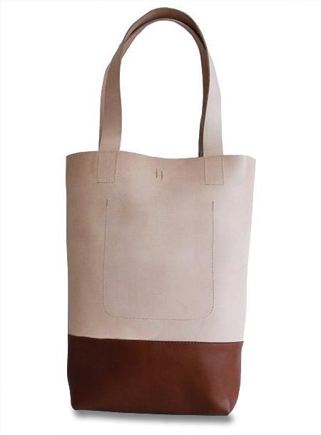 HTC Tote Bag Bi-color Leather #7 / Natural&Brown