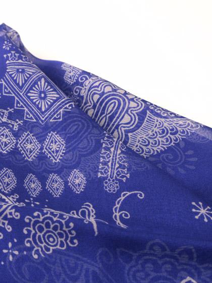 HTC 〔エイチティーシー〕 スカーフ SCARF BANDANA CACHEMIRE SKULL 70  BLUE/WHITE