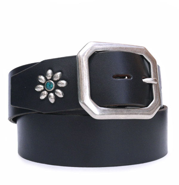HTC Belt End Only Flower Octagon Buckle # TQS N / Black
