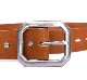 HTC Belt End Only Flower Octagon Buckle # TQS N / Lt Brown